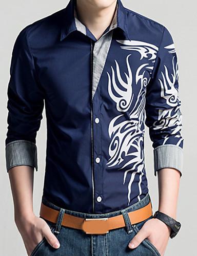 hesapli Erkek Gömlekleri-Erkek Klasik Yaka İnce - Gömlek Desen, Geometrik / Kabile Vintage Büyük Bedenler Kırmzı / Uzun Kollu / Bahar / Sonbahar