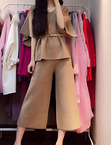 Women's Work Going out Cute Street chic Long Shirt - Solid Colored High Rise Pant Sweetheart
