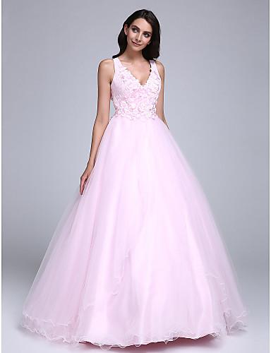 billige Quinceanera Kjoler-Ballkjole V-hals Gulvlang Tyll Formell kveld Kjole med Perlearbeid / Blomst av TS Couture®