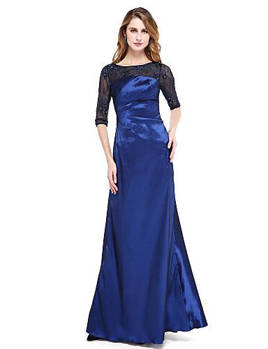 A-Linie Illusionsausschnitt Boden-Länge Nylon Tafft Formeller Abend Kleid mit Perlenstickerei / Plissee durch TS Couture® / Transparente / Offener Rücken