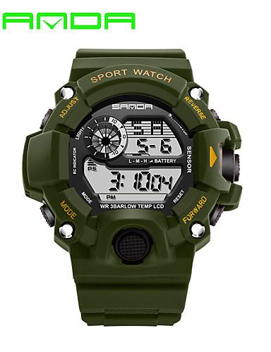SANDA Homens Relógio Esportivo / Relógio inteligente / Relógio de Pulso Calendário / LED / Monitores de Atividades Esportivas Silicone Banda Casual / Fashion Preta / Cronômetro / Noctilucente