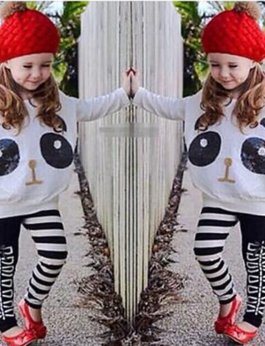 Κοριτσίστικα Σετ Ρούχων Βαμβάκι Πολυεστέρας Spandex Άνοιξη Φθινόπωρο Μακρυμάνικο Κινούμενα σχέδια Animal Print Λευκό