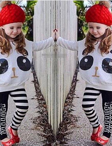 Girls' Print Clothing Set,Cotton Polyester Spandex Spring Fall Long Sleeve Cartoon Animal Print White