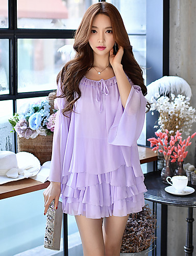 c2a8b79773c9 Women s Holiday   Going out   Beach Casual   Street chic Flare Sleeve Romper  - Solid