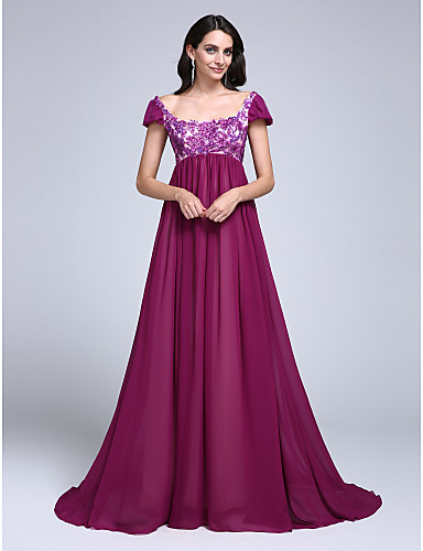 A-Line Scoop Neck Court Train Chiffon Formal Evening Dress with Sequin Appliques by TS Couture®