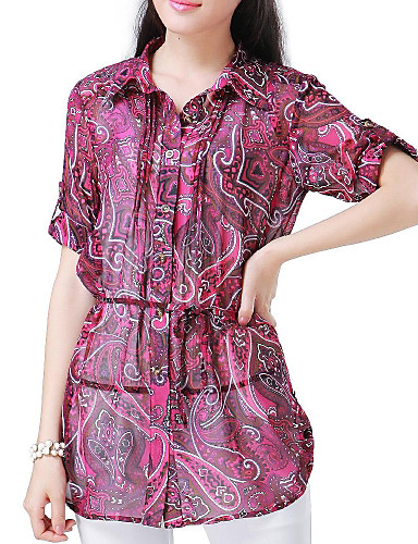 Women's Daily Casual Summer Blouse,Print Polyester Thin