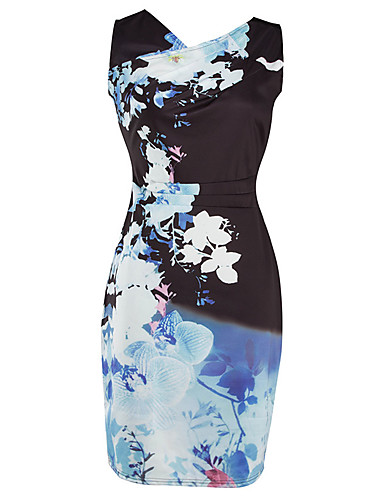Women's Daily Work Vintage Sexy Bodycon Dress,Print V Neck Above Knee Sleeveless Polyester Spring Summer Mid Rise Stretchy Medium