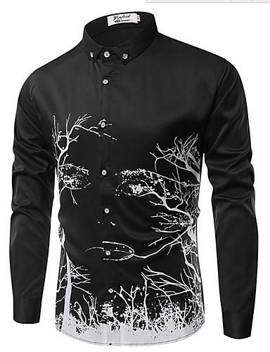 Hombre Estampado - Algodón Camisa / Manga Larga