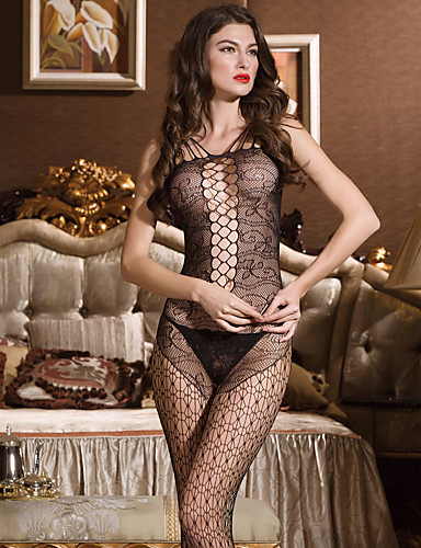 SKLV Women Nylon Cut Out Sheer Gartered Lingerie/Lace Lingerie/Ultra Sexy/Teddy Nightwear