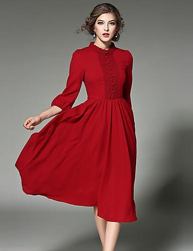 Dame Vintage / Gatemote / Sofistikert Chiffon / Swing Kjole - Ensfarget Rullekrage Midi