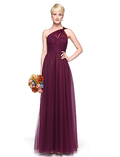 Linha A Assimétrico Longo Chiffon Vestido de Madrinha com Pregas de LAN TING BRIDE®