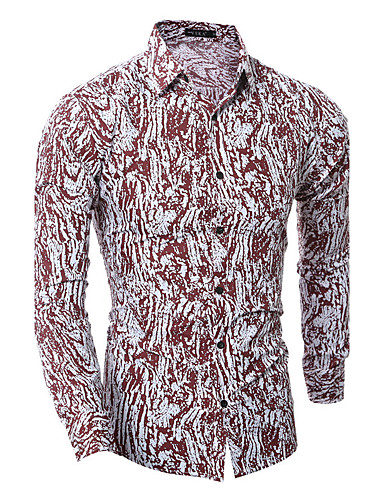 Bomull Skjorte Herre - Ensfarget, Trykt mønster