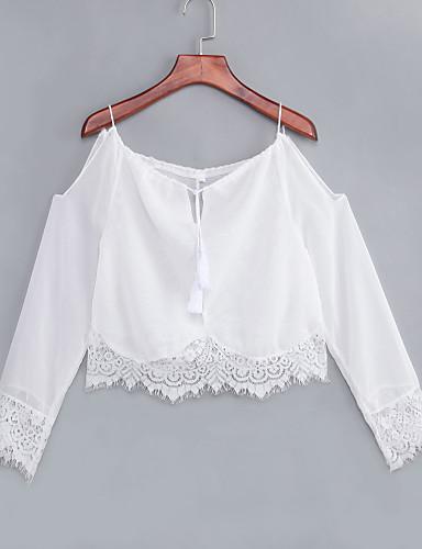 Damen Solide Bluse, Gurt Bateau Spitze Rückenfrei Aufflackern-Hülsen- Baumwolle