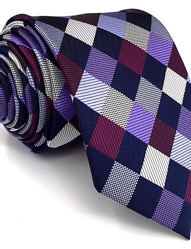 Homens Festa Trabalho Básico Raiom, Gravata - Básico Estampa Colorida Quadriculada Jacquard