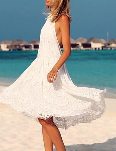 فستان نسائي دانتيل قطن طول الركبة لون سادة / ورد مع حمالة مناسب للخارج
