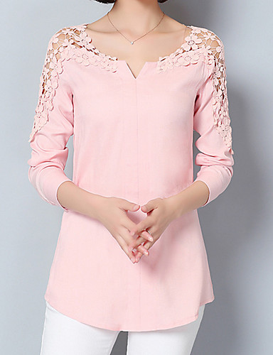 Women's Going out / Work Street chic / Sophisticated Blouse - Solid Colored Lace / Spring / Summer