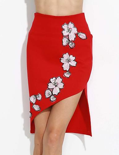 Ženske Bodycon Sexy Rad Do koljena Suknje Umjetna svila Cvjetni print Proljeće