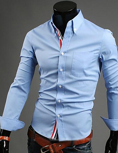 Men's Plus Size Cotton Shirt - Solid Colored Button Down Collar
