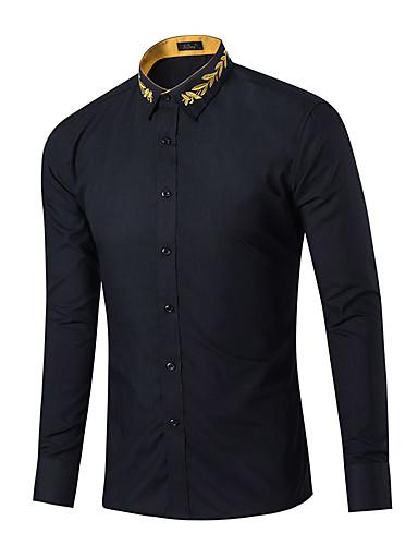 Bomull Klassisk krage Skjorte Herre - Ensfarget / Langermet