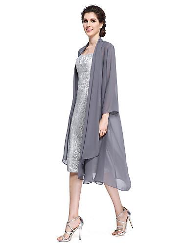 Szűk szabású Szíj Térdig érő Sifon Csipke Örömanya ruha  -  Csipke által LAN TING BRIDE®