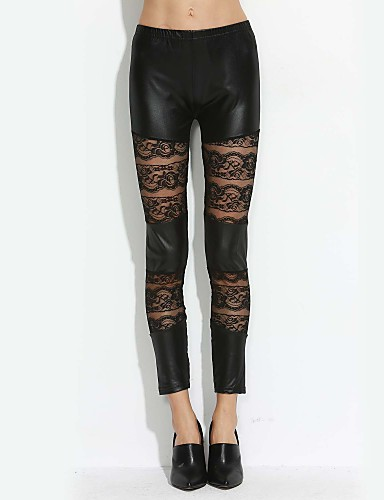 Women's Lace Lace and Leather Leggings