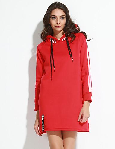 Naisten Suora Mekko Yksinkertainen Bile / Plus-koko,Yhtenäinen Hupullinen Reisipituinen Pitkähihainen Punainen / Musta / Harmaa Polyesteri