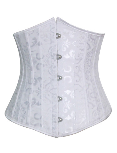 Damen Haken & Öse Schnüren Unterbrustkorsett Jacquard - Baumwolle Modal Polyester Elasthan Weiß