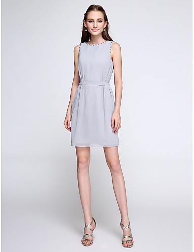 Sheath / Column Jewel Neck Short / Mini Chiffon Bridesmaid Dress with Beading by LAN TING BRIDE®