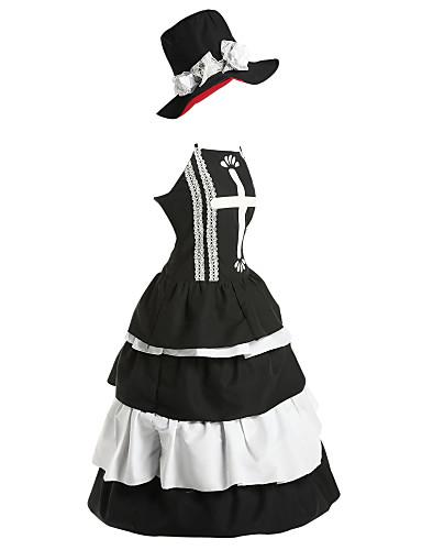 ieftine Anime Costume-Inspirat de One Piece Perona Anime Costume Cosplay Japoneză Costume Cosplay / Rochii Vintage Fără manșon Rochie / Pălărie Pentru Pentru femei