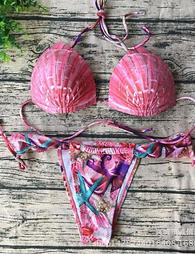 billige Bikinis-Dame Blomster Grime Rosa Bikini Badetøy - Blomstret M L XL Rosa
