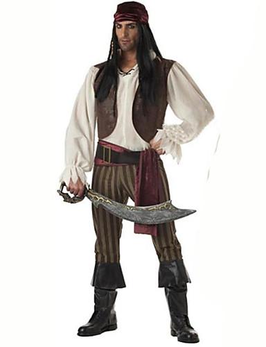 levne Cosplay a kostýmy-Pirát Cosplay Kostýmy Pánské Karneval Festival / Svátek Bavlna Hnědá Karnevalové kostýmy Jednobarevné
