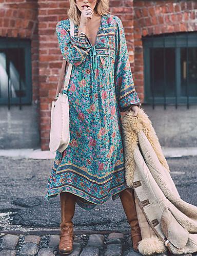 abordables Robes Femme-Femme Bohème Grandes Tailles Vacances Bohème Midi Balançoire Robe - Imprimé, Fleur V Profond Bleu Printemps Bleu clair S M L / Ample
