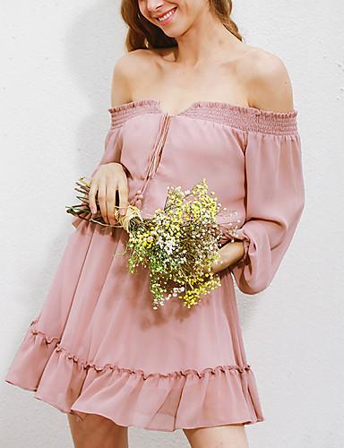 Damskie Wyjściowe Moda miejska Pochwa Sukienka - Jendolity kolor, Bez pleców Falbany Bateau Wysoki stan Przed kolano