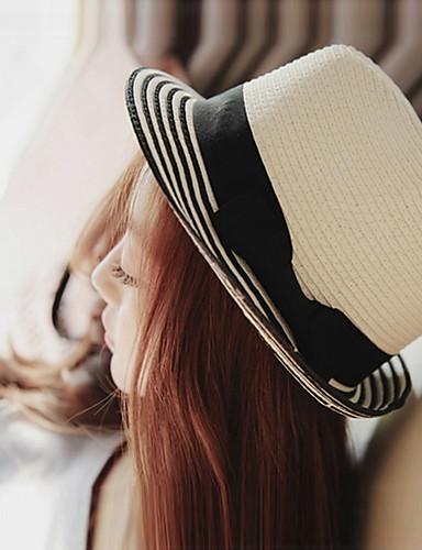 Mujer Sombrero Playero / Sombrero de Paja / Sombrero para el sol - Vacaciones Un Color / Bonito / Verano