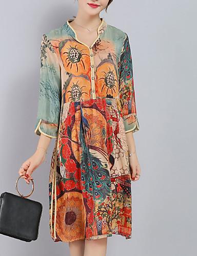 Mujer Sofisticado Tallas Grandes Seda Pantalones - Geométrico Separado / Estampado Naranja / Escote en Pico / Corte Ancho / Noche