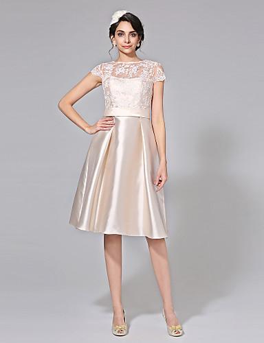 גזרת A אשליה באורך  הברך תחרה מיקאדו שמלת חתונה עם פפיון סרט כפתור על ידי LAN TING BRIDE®