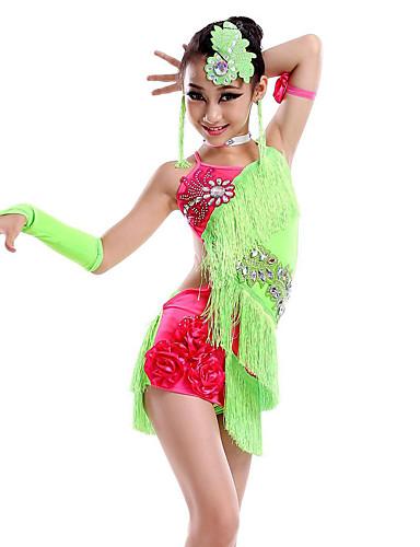 baratos Roupas Infantis de Dança-Dança Latina Vestidos Espetáculo Fibra de Leite Mocassim / Cristal / Strass Sem Manga Natural Vestido / Luvas / Decoração de Cabelo