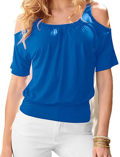 Mulheres Camiseta - Praia Activo Sólido / Estampa Colorida Algodão / Primavera / Verão