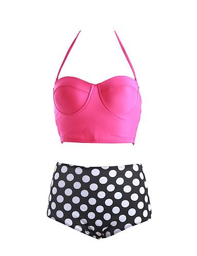 Bikinis Aux femmes Taille Haute/Pois Push-up/Sans Armature Bandeau Polyester