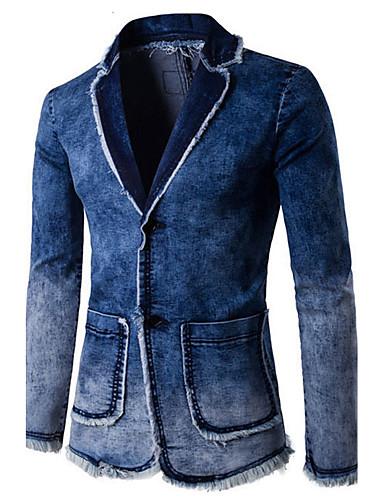 Herre Daglig Gatemote Vår / Sommer / Høst Normal Blazer, Ensfarget Skjortekrage Langermet Bomull / Polyester Dusk Blå L / XL / XXL / Tynn