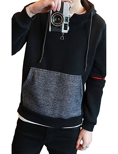Men's Plus Size Daily Sports Going out Plus Size Beach Holiday Vintage Cute Casual Active Boho Street chic Punk & Gothic Hoodie Solid