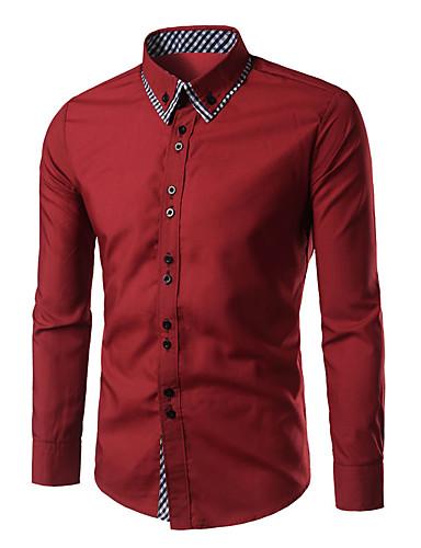 voordelige Herenoverhemden-Heren Informeel Overhemd Blokken Buttondown boord Rood / Lange mouw / Lente / Herfst