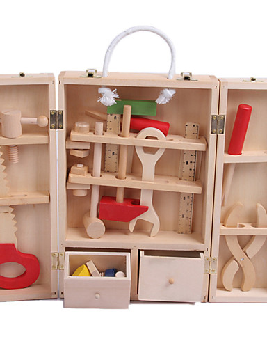 voordelige Speelgoedgereedschap-Doen alsof-spelletjes Speelgoedgereedschap Gereedschapskisten Veiligheid Simulatie Hout Kinderen Jongens Speeltjes Geschenk 1 pcs