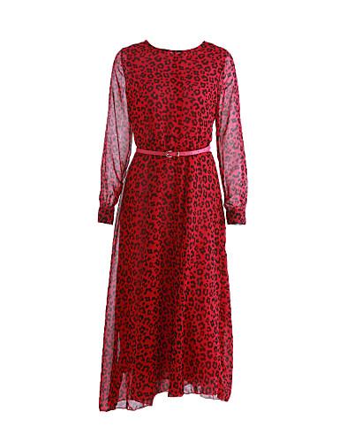 Γυναικεία Φόρεμα Στρογγυλή Λαιμόκοψη Μακρύ Μακρυμάνικο Σιφόν