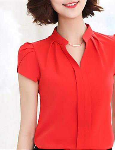 abordables Camisas y Camisetas para Mujer-Mujer Chic de Calle Noche / Trabajo Camisa, Escote en Pico Un Color Blanco L / Primavera / Verano