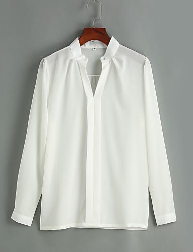 V-hals Skjorte Dame - Ensfarget Arbeid