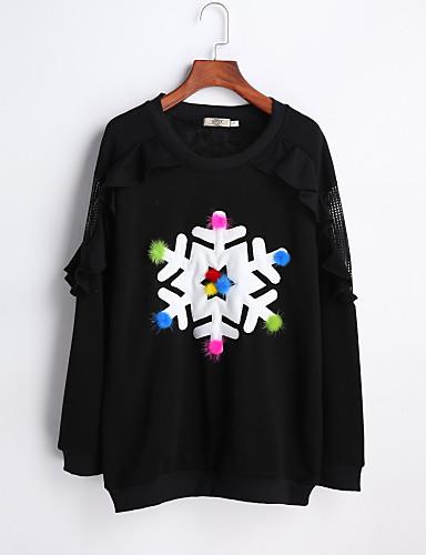 Damen Solide Alltag Pullover Standard Langarm Rundhalsausschnitt Winter Baumwolle