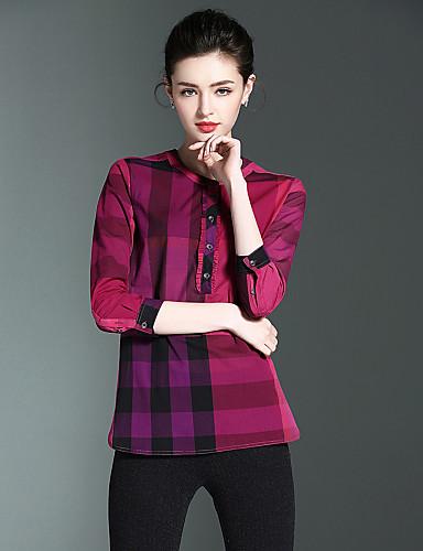 Mulheres Camisa Social - Para Noite Estampado, Multi-Côr Algodão