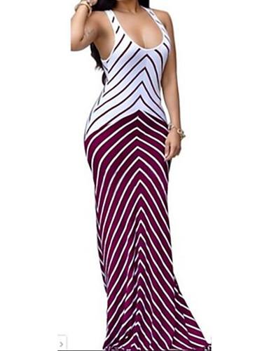 Mulheres Feriado / Praia Boho Skinny Tubinho / Bainha Vestido Listrado Decote U Longo