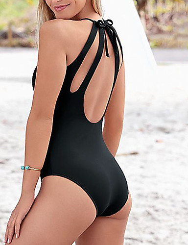 Women's Solid Blue Black Pant One-piece Swimwear - Solid Colored Backless M L XL Blue / Super Sexy